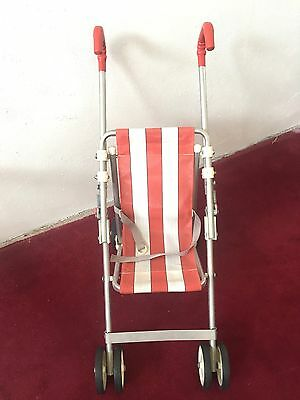 Original Vintage Maclaren E-Type Red And White Toy Buggy Pushchair