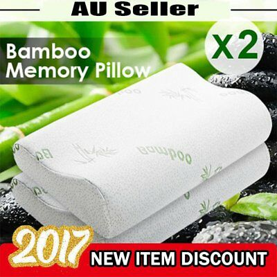 1/2 Pack Luxury Bamboo Contour Pillow Memory Foam Fabric Fibre Cover 50 x 30cm