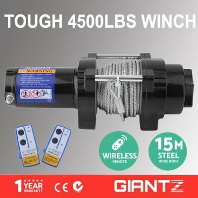 12V Electric Winch 4500LBS/2041KG Wireless Remote Steel Cable 4WD ATV Boat ON