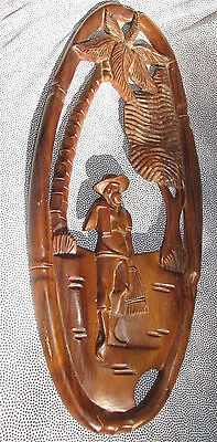 Retro Wood Wall Hanging Pacific Asian Man Palm Tree View Made Philippines 57CmL