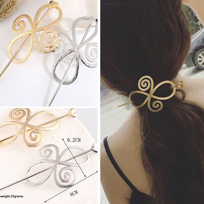 Women Celtic Knot Hairpin Crystal Alloy Heart Hair Clip Barrette Bun Holder Gift