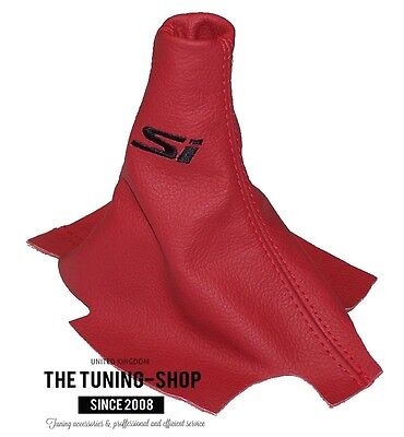 """For Honda Acura Civic Sedan Coupe 2012-15 Shift Boot Red Leather """"Si"""" Embroidery"""