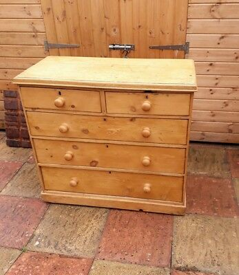 Victorian Stripped Pine Five Drawer Chest.