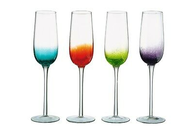Anton Studio Designs Fizz Champagne Glasses/Flutes, Set of 4 Assorted Colours -