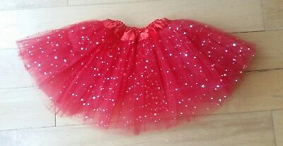 Girls Red ballet sparkle tutu skirt girls age 3 4 5 6 7 costume red nose day