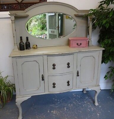Lovely Large Wooden Painted Distressed Dressing Table Sideboard Mirror Drawers