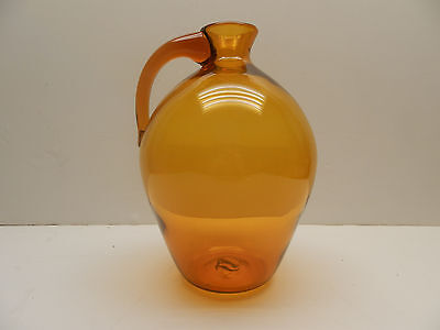 "Vintage Blenko Jug Pitcher Wheat Golden Yellow 11"" MINTY"