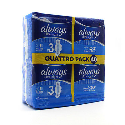 New Always Ultra Night 20 Quattro Pack 40