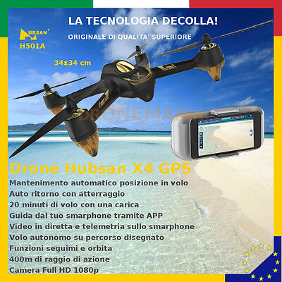 Drone GPS brushless Hubsan H501A guida e video in diretta su smarphone APP 400m