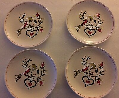 Set of 4 White Homer Laughlin Rhythm Bird Plates (Rare - Vintage - Amish Art)