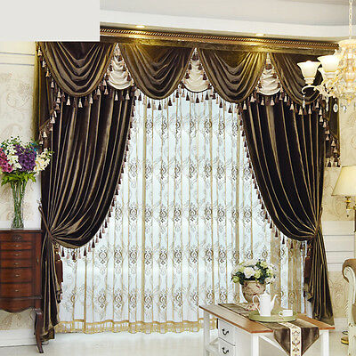 Luxury European velvet  solid color cloth curtain tulle sheer valance E670