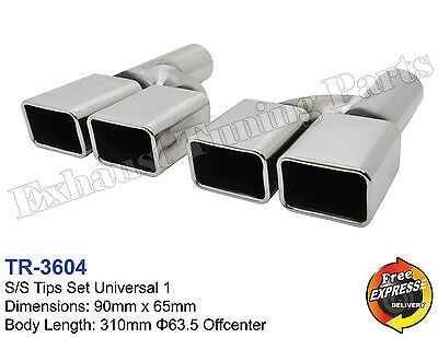 Exhaust tips universal s/steel dual quad tailpipe trims for Vauxhall Opel