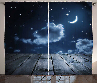 Dark Blue Curtains Vivid Night Sky Wood Window Drapes 2 Panel Set 108x84 Inches