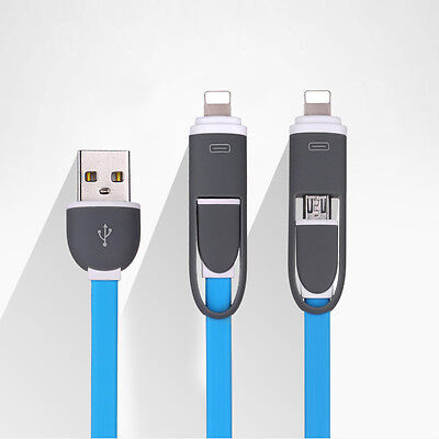 Two In One Data Fast Charging Charger Cable iOS Micro USB For Apple Android