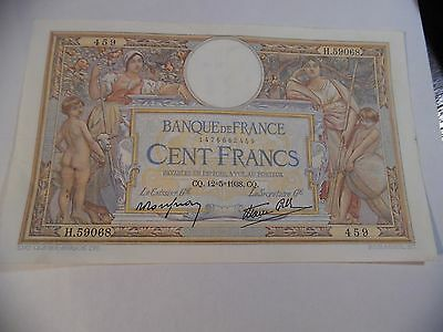 1938 France 100 Francs Dated 12-5-1938 About Uncirculated