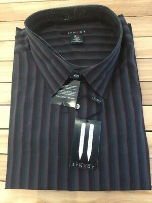 Synrgy Black Striped Long Sleeve Button Down Shirt Men's Size 4XL