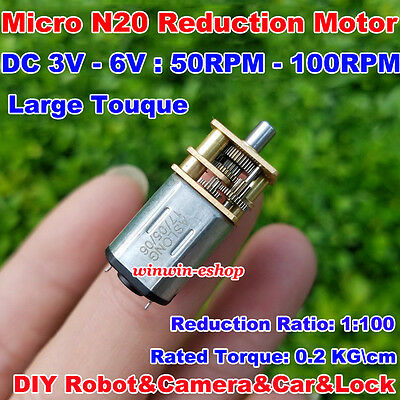 Micro N20 Reduction Gear Motor DC 3V-6V 100RPM Full Metal Gearbox Large Torque