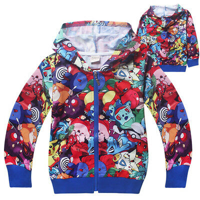 Kids Boy Pokemon Hooded Sweatshirt Hoodie Jacket Coat Children Casual Zipper Top