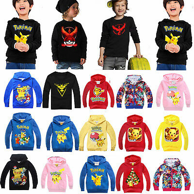 Pokemon Pikachu Hoodies Sweatshirt Kids Boys Girl Hooded Clothes Jacket Coat Top