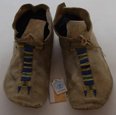 Early pre 1900's Cheyenne Native American Beaded large hide Moccasins