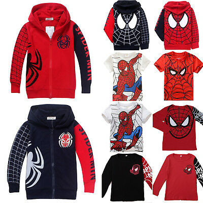 Toddler Kids Boy Spiderman T-Shirt Tops Zip Hooded Hoodie Sweatshirt Jacket Coat