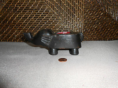 Elephant figurine tea light candle holder black wood