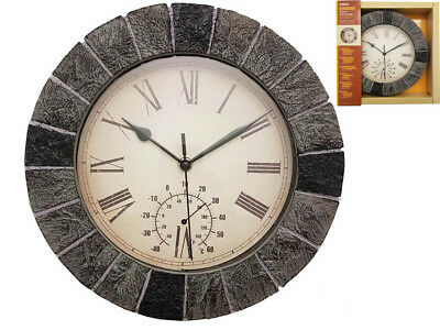 Bordeaux Garden Wall Clock Thermometer Grey Slate Effect Roman Numerals 27Cm