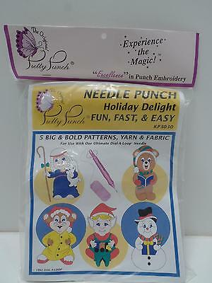 Pretty Punch Embroidery Kit KP3030 Holiday Delight Xmas Elf Snowman Bear New '92
