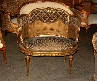 19th C. French Louis XVI Cane Corbeille Settee Chair~