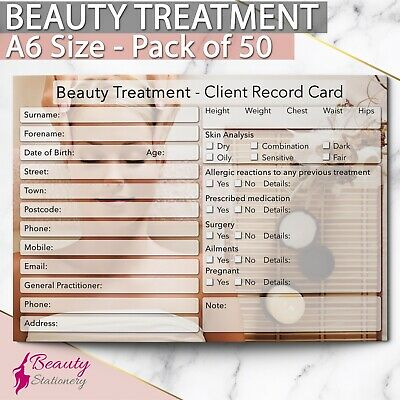 Beauty Client Record Card NEW - PREMIUM Treatment Consultation A6 Pack of 50