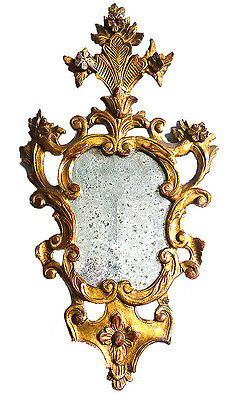 ITALIAN MIRROR, 17th CENTURY, WITH CARVED AND GILDED FRAME