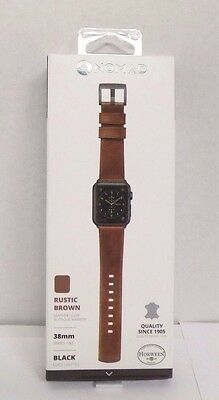 Nomad - Leather Watch Strap for Apple Watch 38mm - Brown with Black lugs #101
