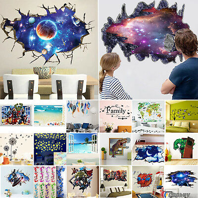 The Avengers 3D Wall Stickers Removable Bedroom Nursery Decor Mural Art Decal