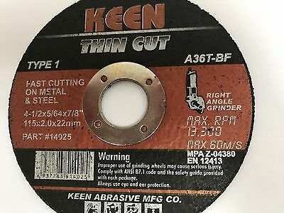 "1 KEEN 4-1/2"" x 5/64"" x 7/8"" Cut Off Wheel #14025"