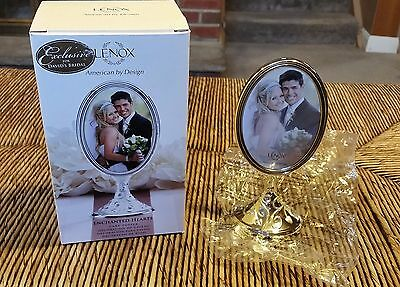 """New Lenox Enchanted Hearts Picture Frame Silverplate Cake Topper 7"""" Wedding"""