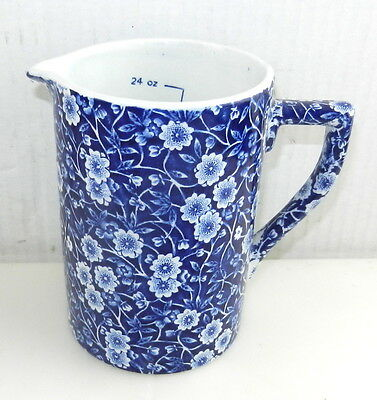 CROWNFORD CHINA CO Staffordshire CALICO Blue MEASURING PITCHER Chintz Ware   T07
