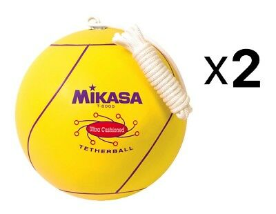 Mikasa Ultra Cushioned Tetherball With Rope, Official Size-Yellow (2-Pack)