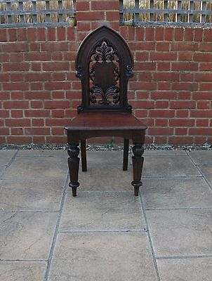 Rare  ARTS & CRAFTS OAK GOTHIC ARCH PIERCED CARVED HALL CHAIR - c1880 -