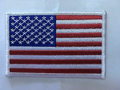 American Flag Embroidered Patch  White Border Us United States Shoulder 3 5/8""