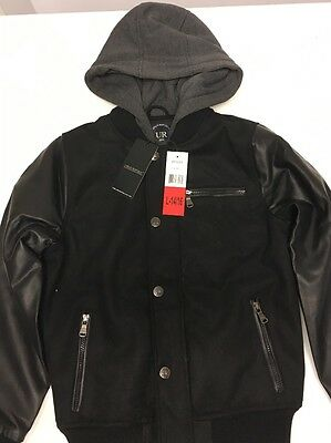 Urban Republic Boy's Novelty Varsity Leather Hooded Jacket, Black, Size L(14/16)