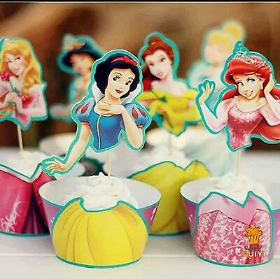 24 Pcs Disney Princess Cupcake Toppers  (12 Wrappers + 12 Toppers)