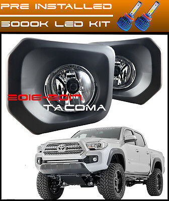 clear fog lights lamps kit harness bezels bulbs for toyota tacoma2016 2019 toyota tacoma led fog lights clear bumper lamp switch and wiring kit