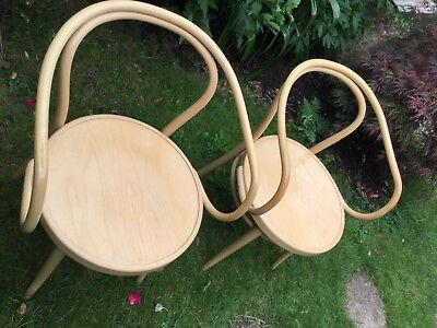 Pair Matching Thonet Factory 209 M Moulded Plywood Seat Beech Bentwood Armchairs