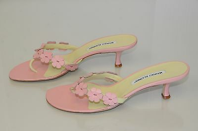 3f3dc4ca9f8 $845 NEW MANOLO Blahnik Thong FLOWERS Pink Green Kitten Heels ...
