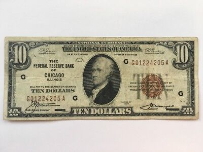 1929 $10 Ten Dollar Bill National Currency Brown Seal Note - Chicago, IL