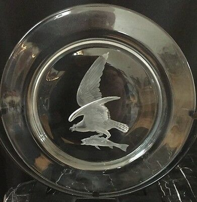 Steuben CopperWheel Engraved Audubon Series Plate: Osprey Bird w/Fish Catch