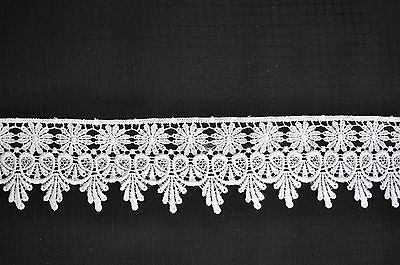 Lily 1-3//4 inches White Brown Black Venice Lace Trim Sewing Notions By Yard
