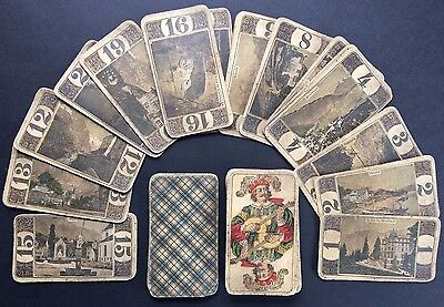 c.1910 Swiss Tarot Old Deck 78 Cards J. Muller & Cie RARE Pre-WW1 Postcard Views