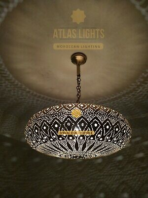 Antique Brass Moroccan   Suspension pressed open ball of 35 cm in brass