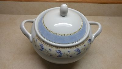 Enchanted Heritage Mint White Blue Floral Garden Covered Serving Dish w Lid